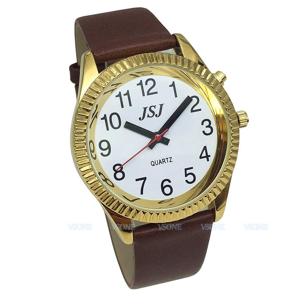English Talking Watch With Alarm Function, Talking Date And Time, White Dial, Brown Leather Band, Golden Case TAG-206