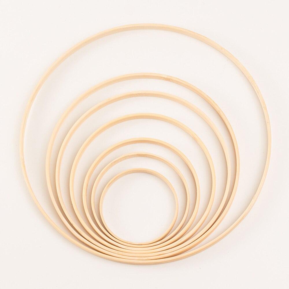 1 pçs decoração da casa anel de bambu círculo de madeira redondo apanhador diy hoop para flores grinalda casa jardim planta decoração pendurado cesta