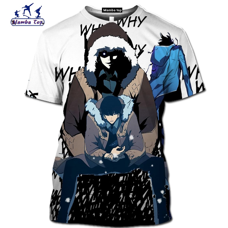Mamba top Hot Comic Solo Leveling shirt homme fashion funny men T-Shirts 3D Anime Harajuku Jin-woo tee Short sleeve Streetwear (14)
