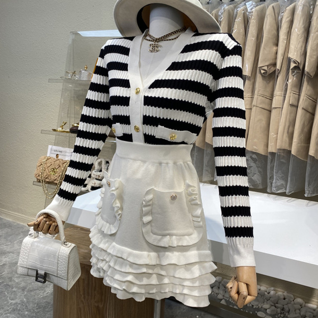 Causal Knitted Sweater 2 Piece Set Women Outfits Striped Long Sleeve Elegant Cardigan Top + Pleated Mini Skirts Two Piece Suits 2