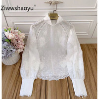 Ziwwshaoyu Designer High Quality Autumn Hemp White Hollow Out Flower Embroidery Lantern Sleeve Blouse Shirt Tops Women's