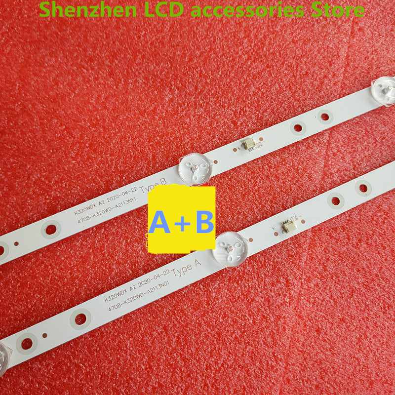 lowest price 4piece lot  FOR   2T-C32ACSA LCD backlight bar 4708-K320WD-A2113N11 01  K320WDX A2 100percentnew  2PCS A  2PCS B  6v   585mm