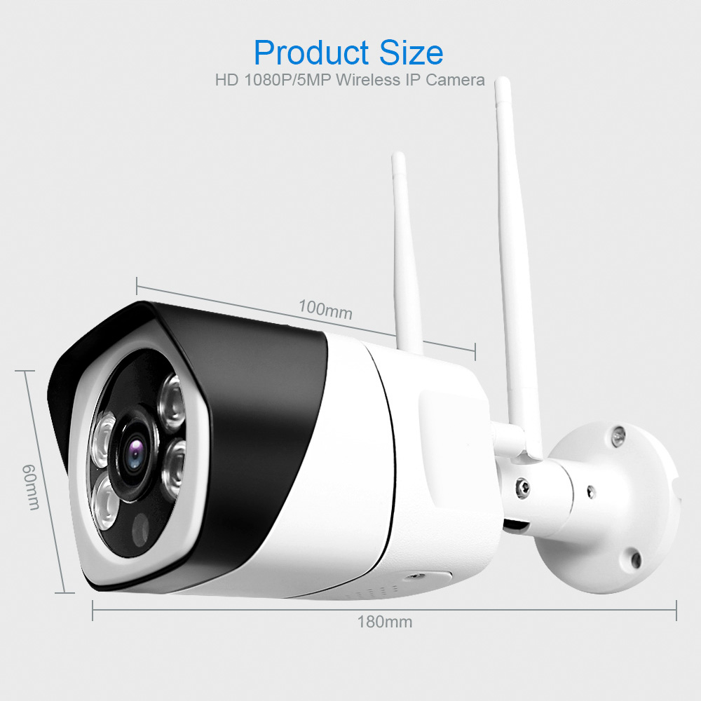H7af283647a5840f4aace734399283d355 HD 5MP Wifi IP Camera ONVIF 1080P Wireless Wired CCTV Bullet Camera Outdoor Two Way Audio TF Card Slot Max 64G IR 20m P2P iCsee