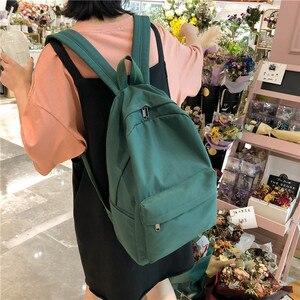 Image 5 - 2020 Backpack Women Backpack Solid Color Women Shoulder Bag Fashion School Bag For Teenage Girl Children School Backpacks Female