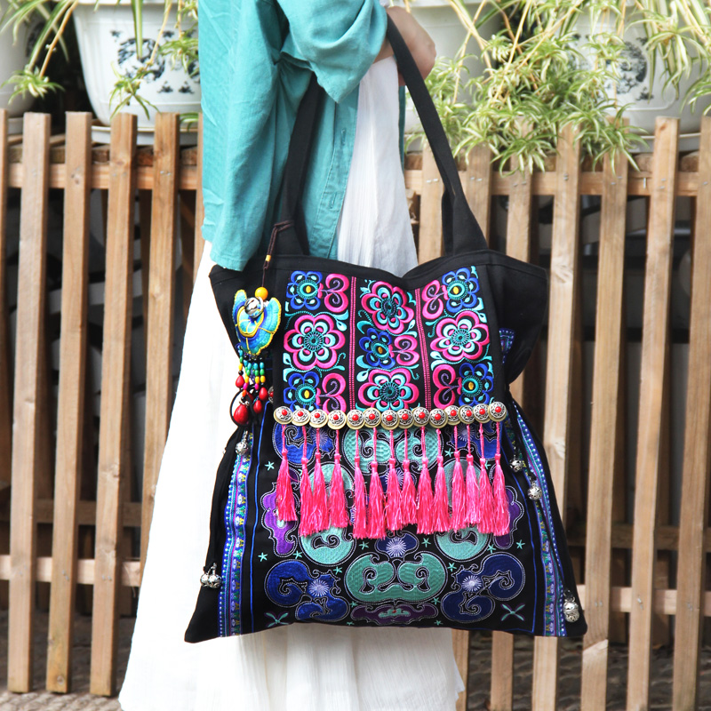 Ethnic Embroidered Women bags Tassel shoulder bags Black canvas casual large bags