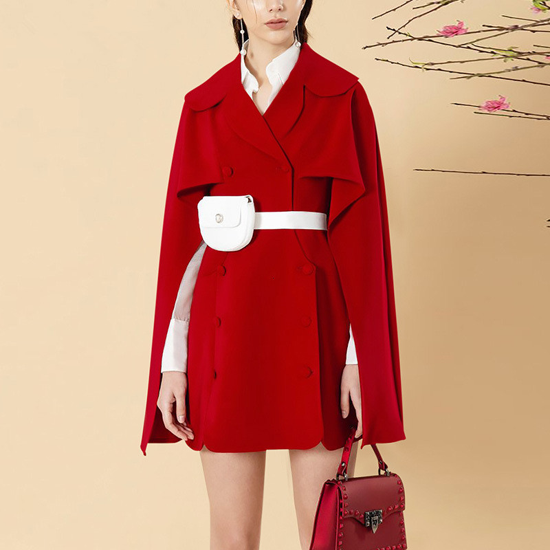 Cape Blazer Dress Women Long Sleeve Runway Designer Elegant Ladies Red Mini Dress Suit Jacket Double Breasted Vestidos Female