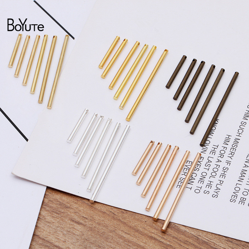 BoYuTe (100 Pieces/Lot) 35MM 40MM Metal Brass Cylindrical Stick With One Hole Diy Earrings Jewelry Making Materials