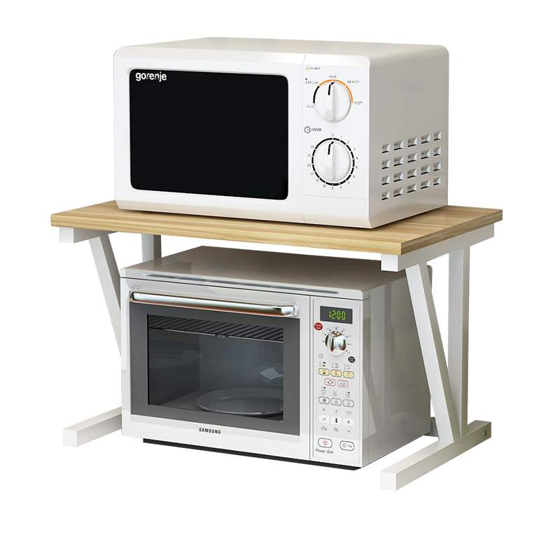 Simple Fashion Microwave Oven Shelf Kitchen Storage Rack Multi-use Oven Spice Rack Steel+Wood Kitchen Supplies