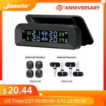 цена на Jansite TPMS Car Tire Pressure Alarm Monitor System Real-time Display Attached to glass wireless Solar power tpms with 4 sensors