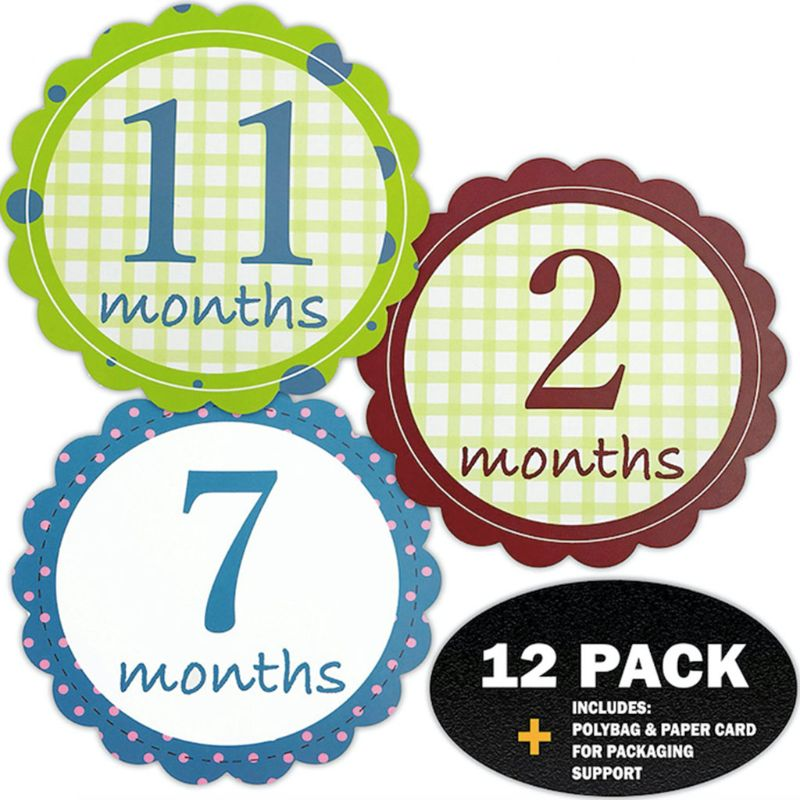 12Pcs Set Newborn Baby Monthly Stickers Pregnant Monthly Milestone Photo Sticker DXAD