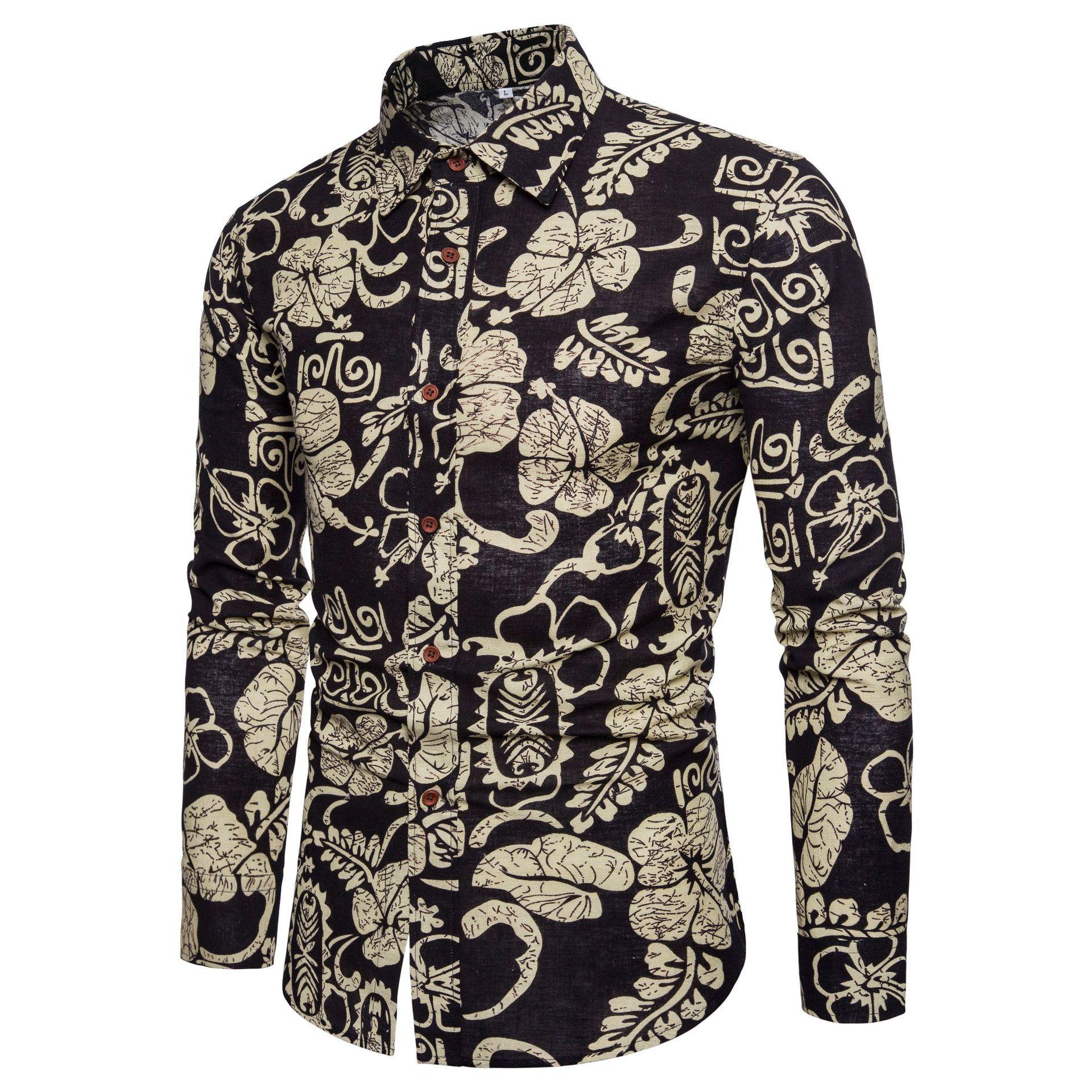 Shirt Men's Men's Long Sleeve Cotton Flower Shirt Mens Dress Shirts