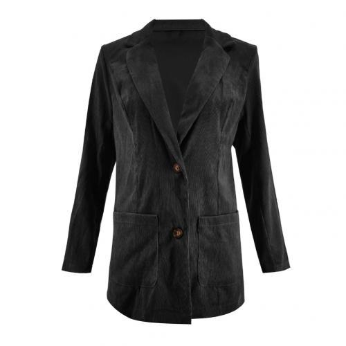 Office Lady Solid Color Long Sleeve Pocket Business Blazer Jacket Coat Slim Suit Solid Color With Pockets Ribbed Design Blazers