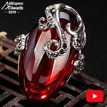 3.28 SALE S925 Fine Antique shop Rings Ruby Rings Luxury Taste Women Handmade Vintage Natural Chalcedony moldavite peridot(China)