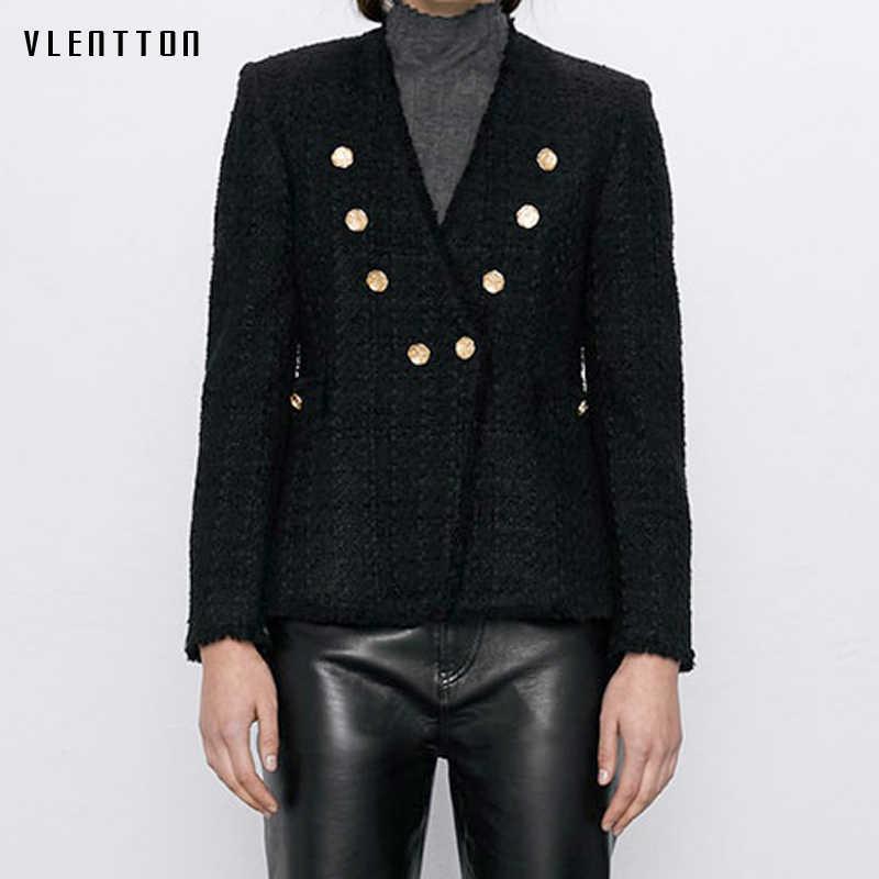 Herfst Sexy V-hals Wol Tweed Blazer Jas Vrouwen Goud Knop Kwastje Zwart Pak Jas Vrouwelijke Uitloper Office Lady Blazers Feminino