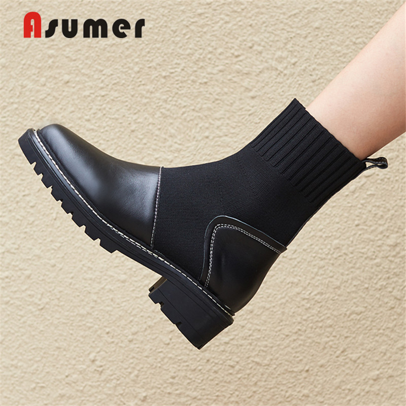 ASUMER Sock Boots Shoes-Straps Heels Women's Genuine-Leather Ladies European Ankle Round-Toe