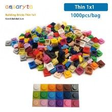 Aquaryta 1000 peças tijolos de construção fino 1x1 em massa compatível com o logotipo 3024 educacional assemblage construção brinquedos presente para crianças
