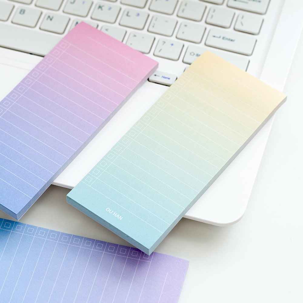 1Pcs/40 Sheets Simple Note Pads Gradiant Color To Do List Memo Pads Planner Student Notepad School Stationery Note Pads
