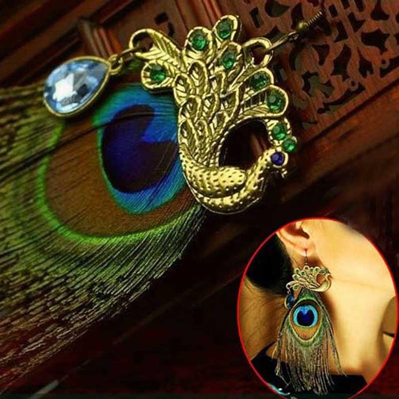 1 cái/bộ Vintage Boho Chim Công Bông Tai Lông Vũ Sáng Bóng Nữ Tòn Ten Tua Dài Bông Tai Hoa Tai Đồ Trang Trí Trang Sức Oorbellen Z4P338