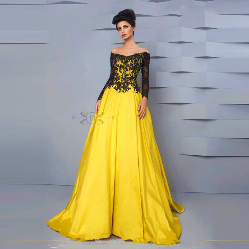 Black&yellow Boat Neck Long Sleeve Appliques Ball Gown Long Prom Dresses Plus Size Evening Gown 2018 Mother Of The Bride Dresses