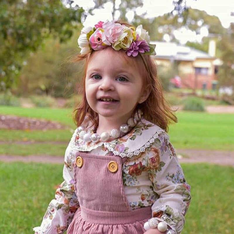 Pudcoco 2 個甘い幼児の女の子の服花の人形の襟長袖シャツ + ストラップスカート服セット