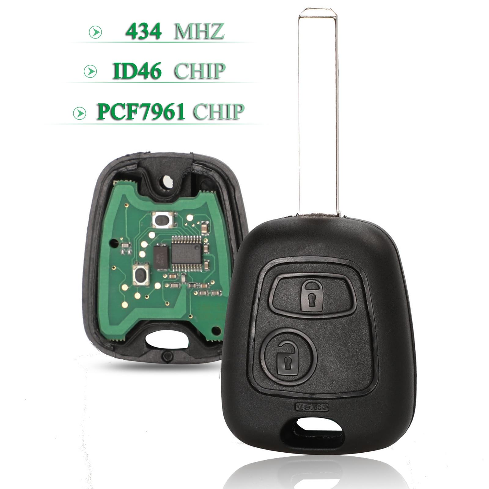 2 кнопки, 2 кнопки, 434 МГц, чип PCF7961, пульт дистанционного управления, Автомобильный ключ для Peugeot 206, 207, Citroen C2, C3 с VA2, запасной ключ