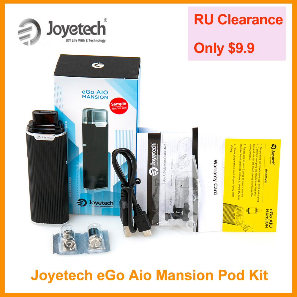 [RU] Clearance Original Joyetech EGo AIO Mansion Pod Kit Built In 1300mAh Battery In 0.6ohm BF SS316 Coil VS EGo Aio E-Cigarette