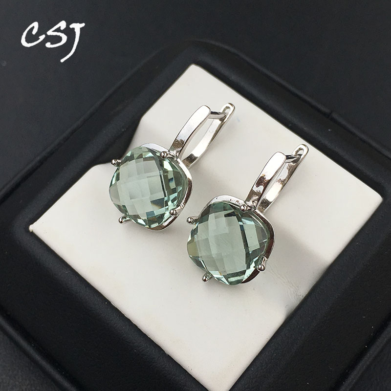 CSJ Green Amethyst Quartz Good Earring Sterling 925 Silver Cushiom Cut 10mm 7Ct Fine Jewelry For Women Lady Party Gift Box
