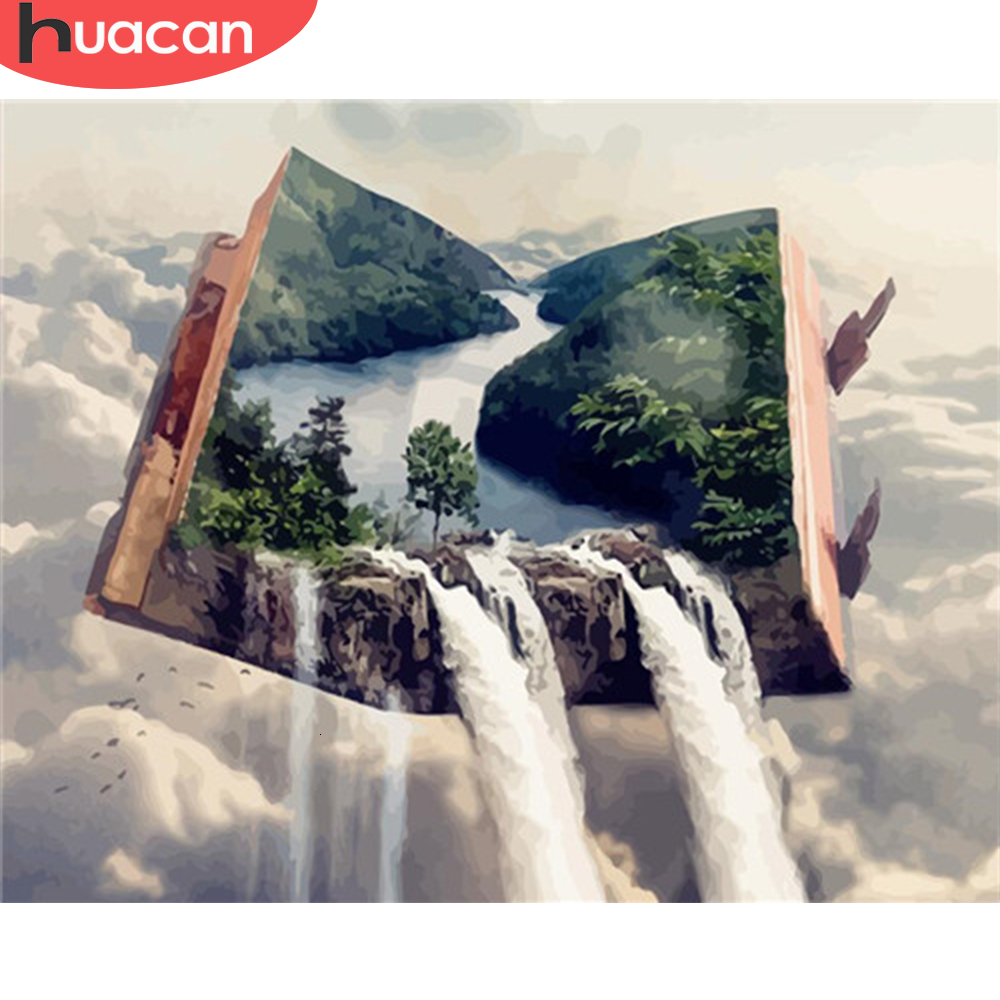 HUACAN Oil Painting By Numbers Waterfall Landscape Paint Canvas Coloring Picture Book HandPainted Home Decoration