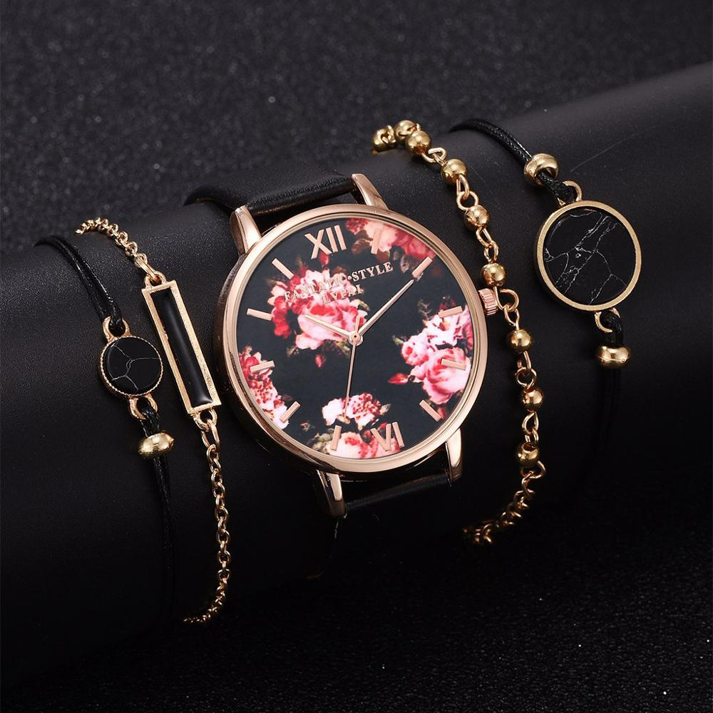 5PCS Set High Quality Fashion Leather StrapWomen Watch Casual Love Heart Quartz Wrist Watch Women Dress Ladies Luxury Watches