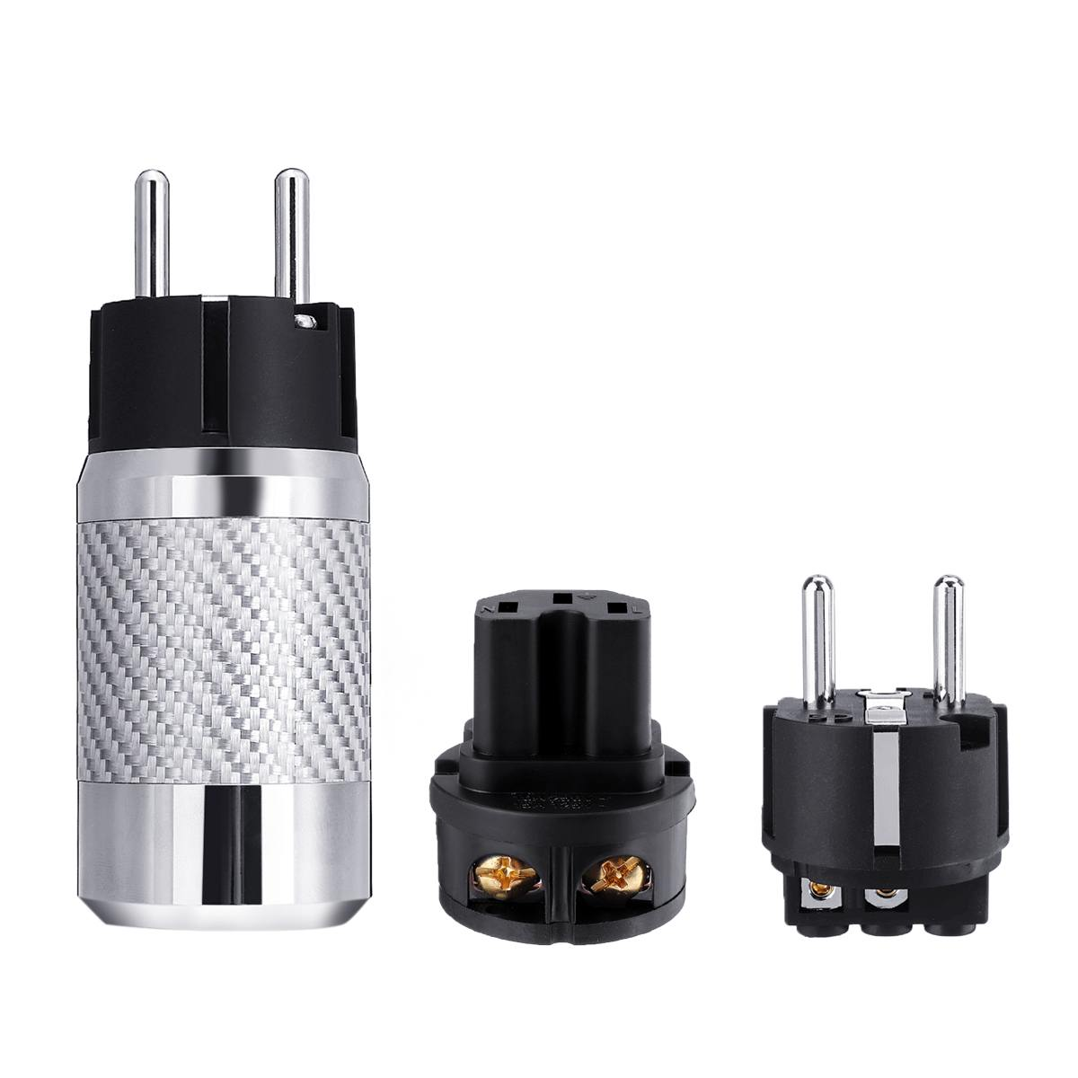 Hifi Audio Connector  Rhodium Plating Speaker EU Power Plug IEC Male Female Carbon Fiber Metal Chassis Connector