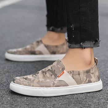 Mokasyny na płaskie buty męskie wsuwane wygodne męskie buty na co dzień płótno kamuflaż męskie buty wulkanizowane męskie mokasyny buty do jazdy samochodem tanie i dobre opinie Thestron Szycia Stałe Syntetyczny Lato 2045 Slip-on Mieszkanie (≤1cm) Pasuje prawda na wymiar weź swój normalny rozmiar