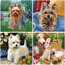 Diy diamond painting Cute puppy cross stitch wall sticker  embroidery Resin square mosaic animal needlework 25*25cm