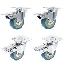 4 шт. набор тяжелых 50x17 мм Резиновые Поворотные Колесики колесики колесико тормоза 40 кг Модель: 4 с тормозным HL-5