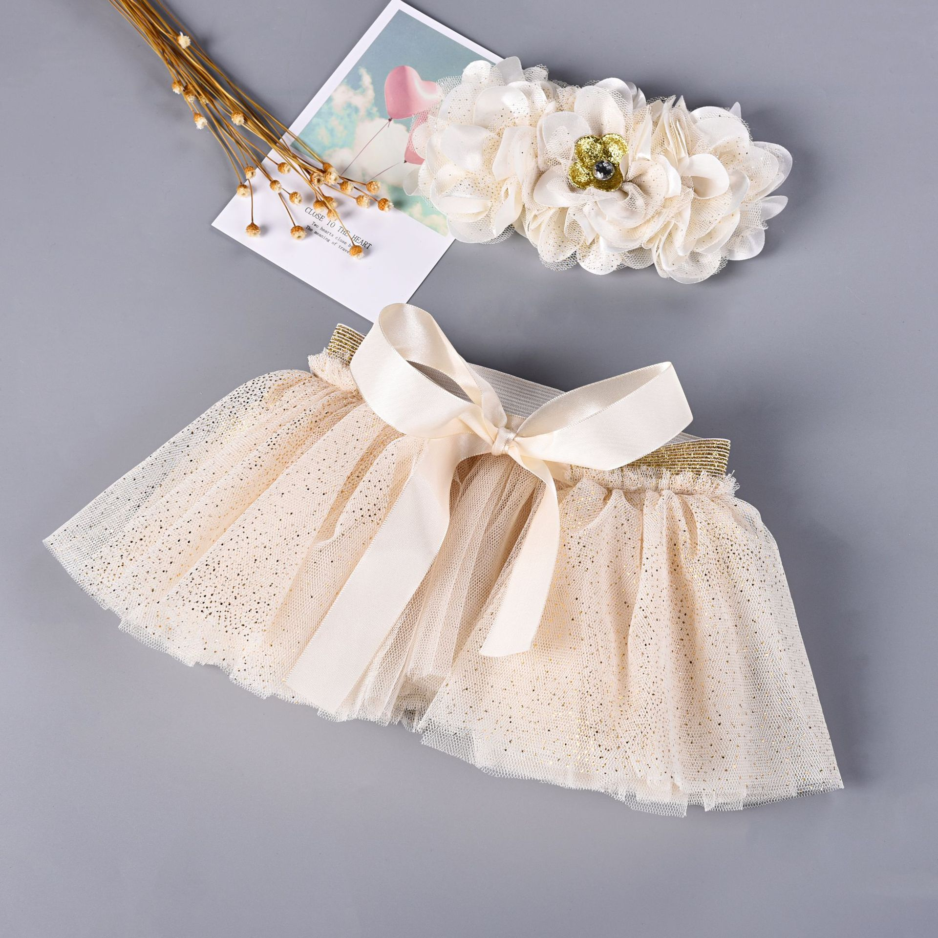 Baby Newborn Photograpghy Props Kids Children Baby White Tutu Skirt + Flower Hair Photos Props Newborn Photography Accessories