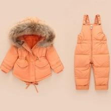 الشتاء مجموعة ملابس الأطفال بذلة الثلوج جاكيتات مريلة بانت 2 قطعة مجموعة طفل صبي الفتيات بطة أسفل معاطف الفراء سنوالبدلة الاطفال الثلوج ارتداء