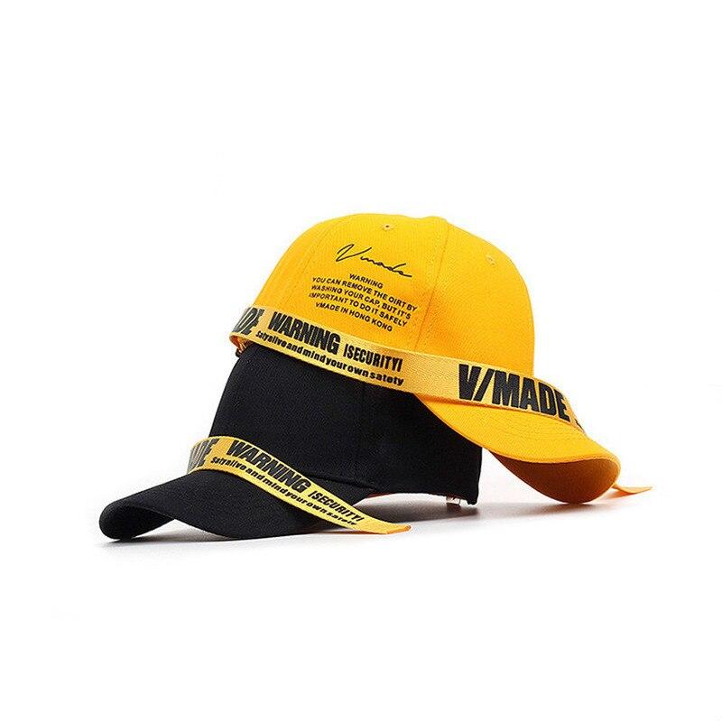 Helisopus New Long Strap Baseball Cap Black Red Yellow Letter Printed Snapback Summer Fashion Hip Hop Cap Sun Hats