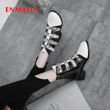 ENMAYLA Winter PU Snake Stripe Women Shoes Zip Round Toe Hoof Heels Ankle Boots Mixed Colors Short Plush Buckle White