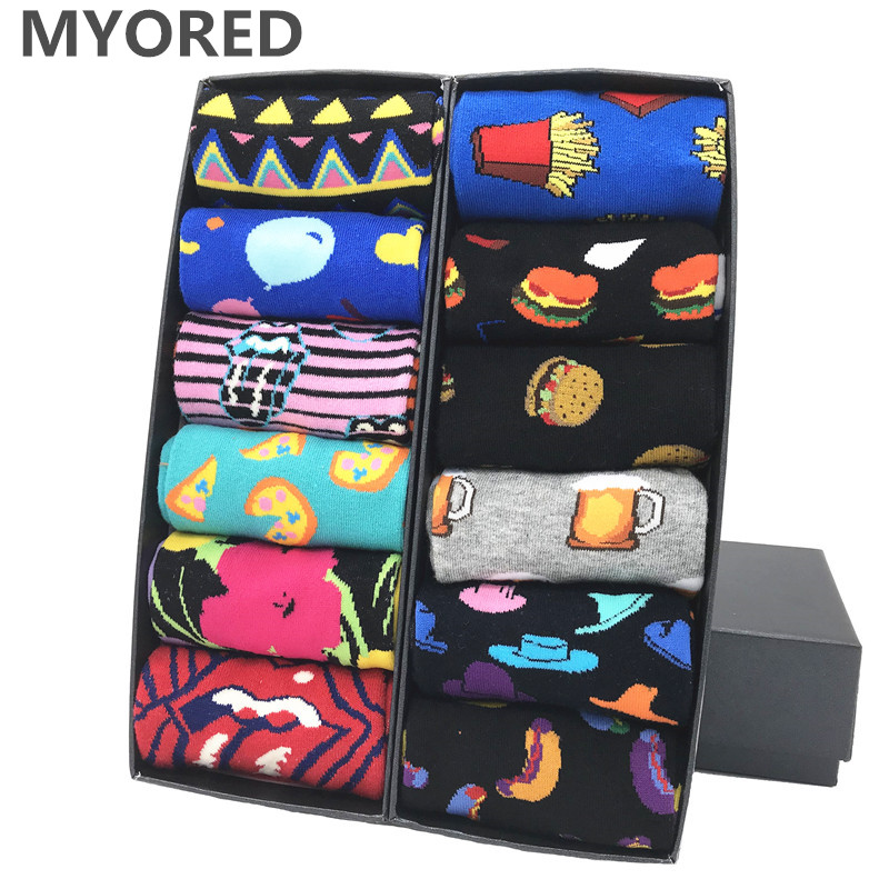 MYORED 12pairs/Lot Colorful Men's Dress Socks Avocado Casual Tube Striped Plaid Pattern Comfortable Party Gift Classic Socks
