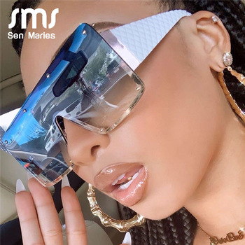 2020 New Square Sunglasses Women Fashion Oversized Metal Frame Vintage Glasses Men Shades Retro Gradient Colors Oculos UV400 1
