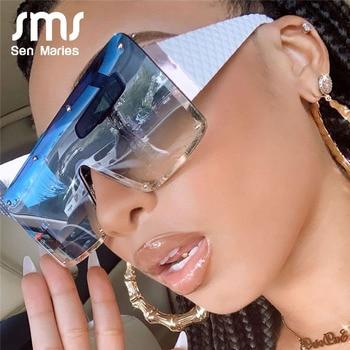 2020 New Square Sunglasses Women Fashion Oversized Metal Frame Vintage Glasses Men Shades Retro Gradient Colors Oculos UV400 1