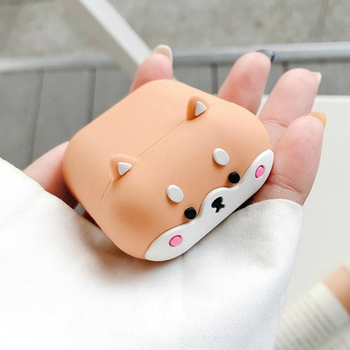 Case for AirPods Cute Cover Silicone Bluetooth Earphone Protective Case for Air Pods 2 with Keychain 3D Luxury Shiba Inu Dog case for airpods pro cute cover silicone bluetooth earphone protective case for apple air pods 1 2 cookies bear 3d with keychain