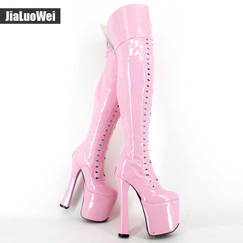 New 8 inch high heel Sexy Over The Knee Thigh High Heel Stiletto Platform Stretchy Boots Plus size more colors