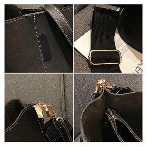 Image 5 - Brand Design Women Bucket PU Leather Shoulder Bag Large Capacity Lady Crossbody Bags Wide Strap Female Solid Color Totes Handbag