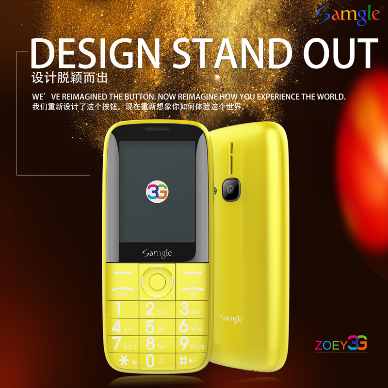 """Samgle Bar 3G WCDMA Feature Phone 2.4"""" Color Display Large Keyboard Torch Long Standby Battery Whatsapp Facebook Elder People"""