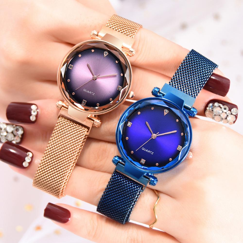 Роскошные женские часы магнитные Женские кварцевые наручные часы модные женские наручные часы reloj mujer relogio feminino