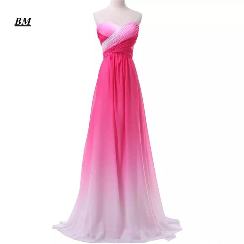 2019 New Gradient Colorful Sexy Dresses Ombre Chiffon Prom Dress Evening Dress Pleats Women Formal Occasion Dress BM173