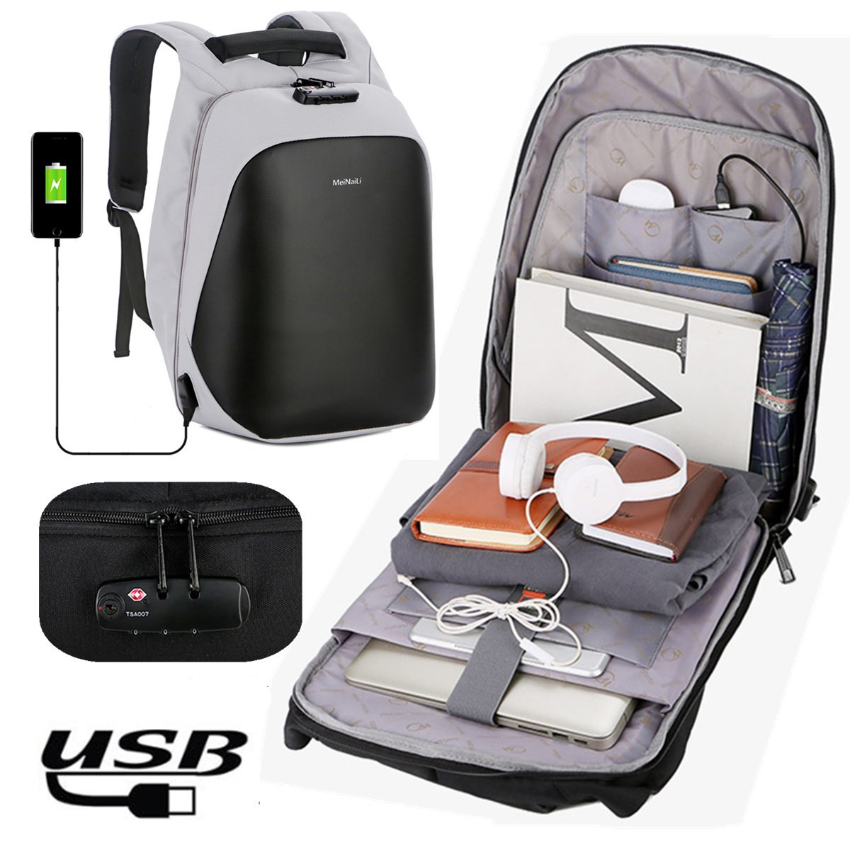 Anti Theft Water Repellent 15.6inch USB Charging Casual Men Backpacks School Bag Backpack Female Male For Teenagers Girls Boy