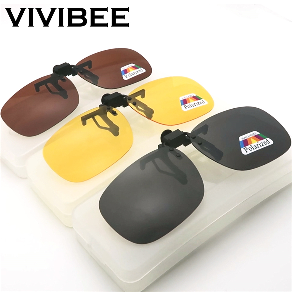 VIVIBEE Men Polarized Clip On Sunglasses For Driving 2019 Night Vision Yellow Women Square Sun Glasses With Clips Unisex Clips