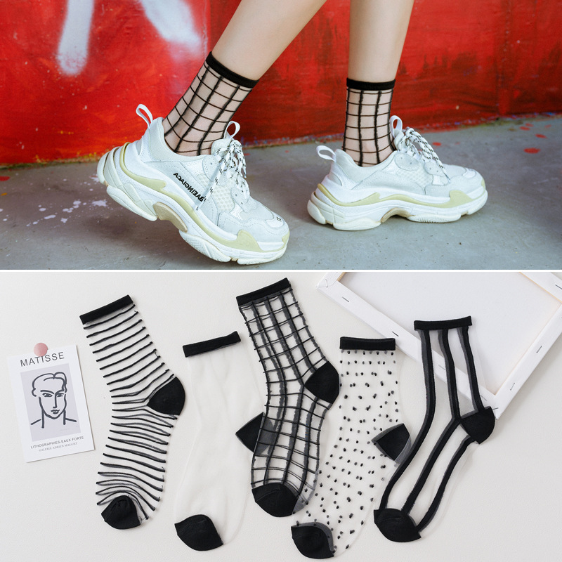 5 Pairs Women Socks Summer New Black White Socks Thin Transparent Socks Striped Plaid Cute Socks