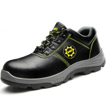 mens casual large size breathable steel toe caps working safety shoes construction site worker shoe cow leather security boots(China)